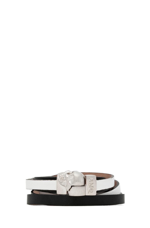 Image 1 of Alexander McQueen Skull Charm Double Wrap Bracelet in Black & White