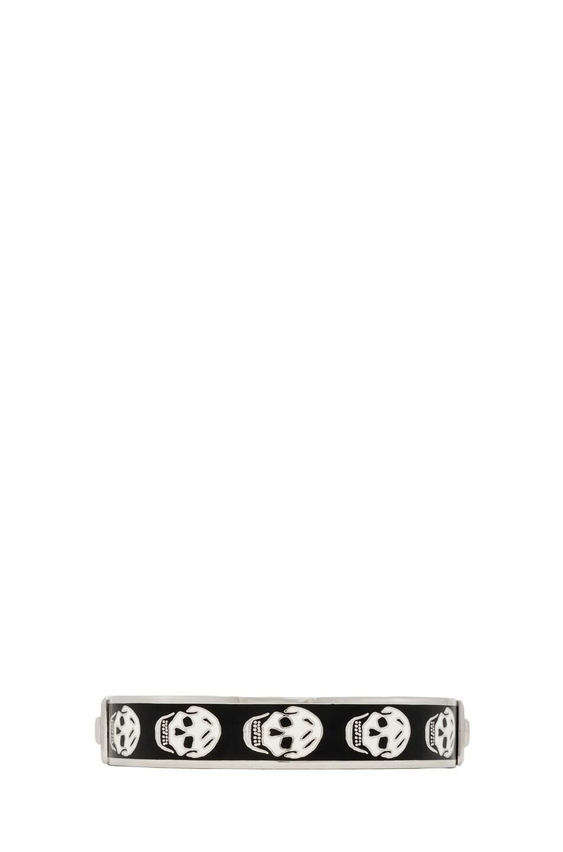 Image 1 of Alexander McQueen Enamel Skull Bracelet in Black & White