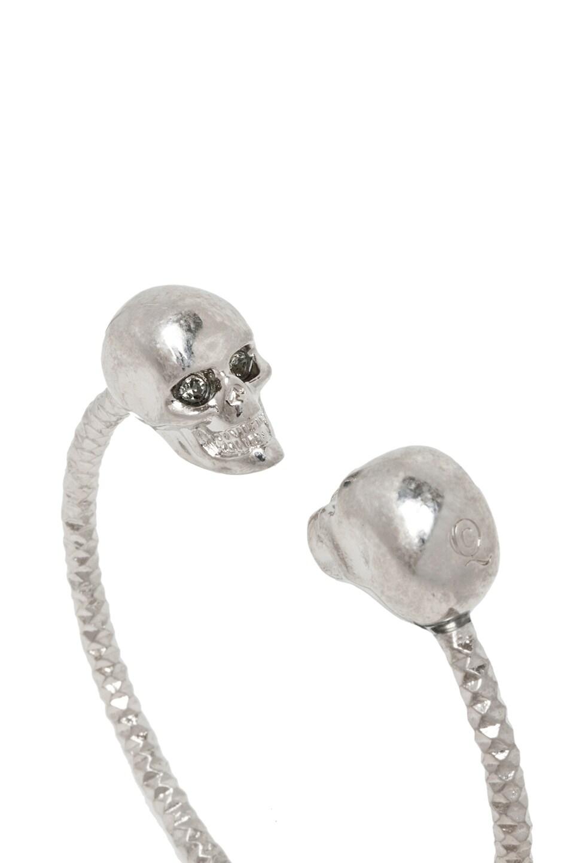 Image 5 Of Alexander Mcqueen Twin Skull Br Bracelet In Silver Black Diamond