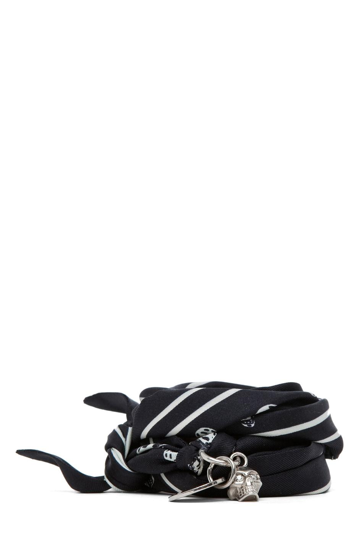 Image 1 of Alexander McQueen Scarf Bracelet in Black & White
