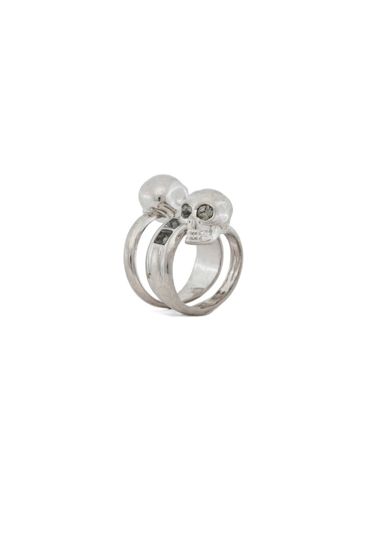 Image 1 of Alexander McQueen Twin Skull Brass Ring in Silver & Black Diamond