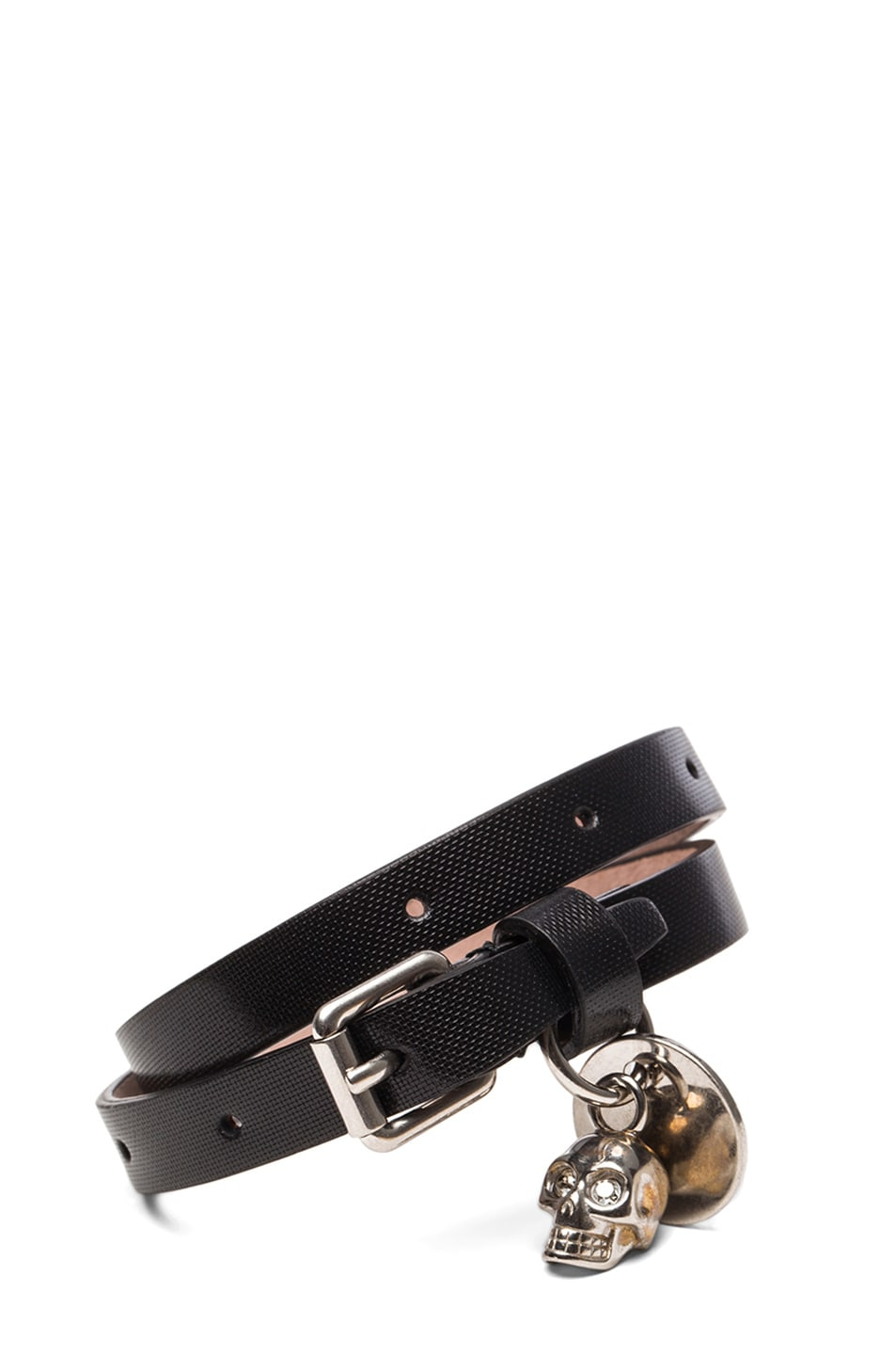 Image 1 of Alexander McQueen Double Wrap Leather Bracelet in Black