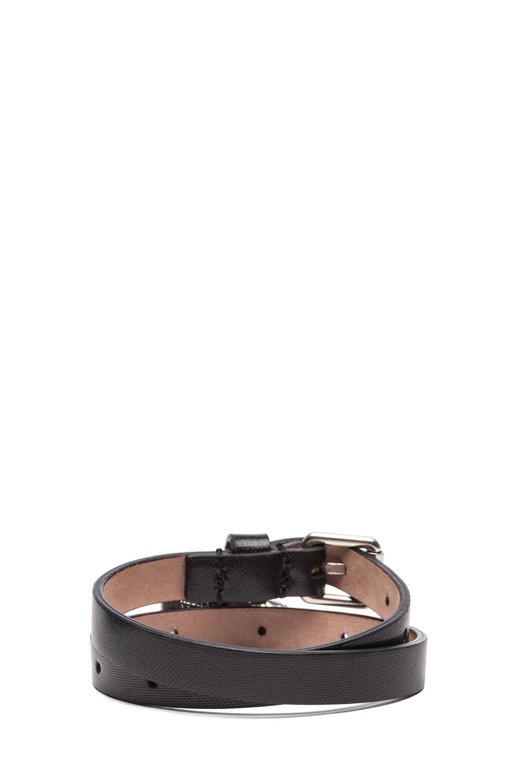 Image 3 of Alexander McQueen Double Wrap Leather Bracelet in Black
