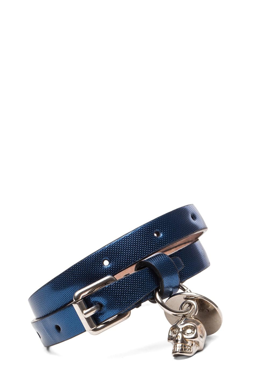 Image 1 of Alexander McQueen Skull Double Wrap Calfskin Bracelet in Blue