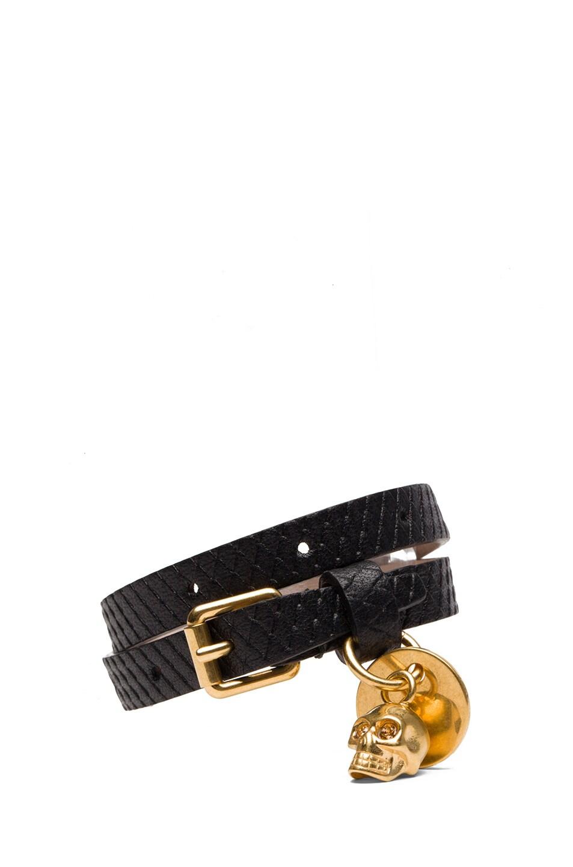 Image 1 of Alexander McQueen Double Wrap Bracelet &Gold Studs in Black