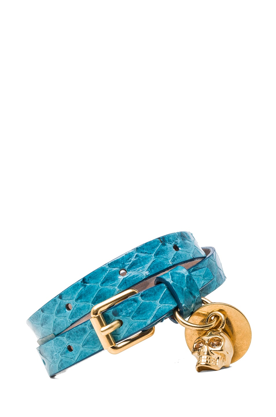 Image 1 of Alexander McQueen Double Wrap Snakeskin Bracelet in Light Petrol