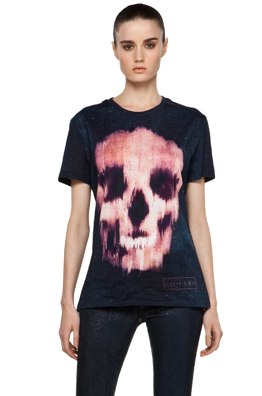 Image 1 of Alexander McQueen Ikat Skull Jersey T Shirt in Black/Red
