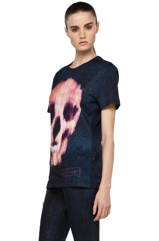 Image 2 of Alexander McQueen Ikat Skull Jersey T Shirt in Black/Red