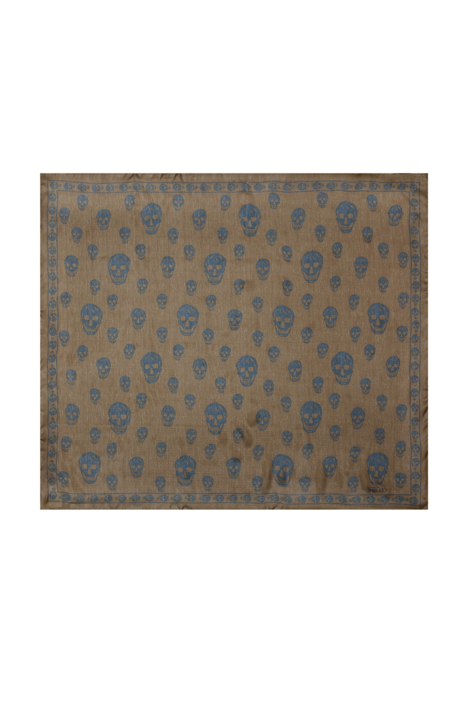 Image 1 of Alexander McQueen Chiffon Skull Scarf in Olive