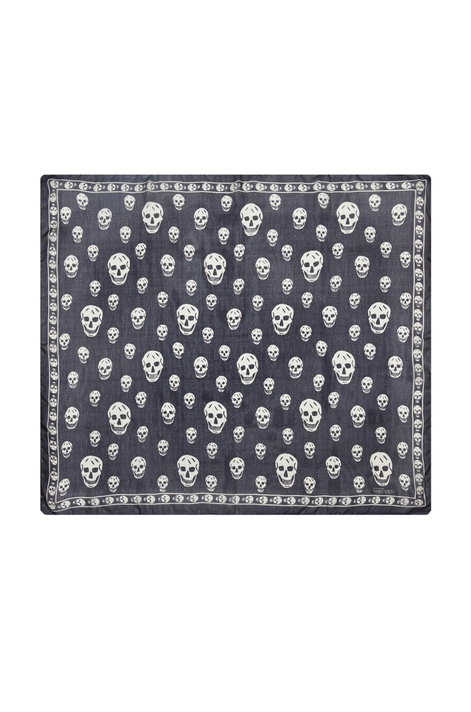 Image 1 of Alexander McQueen Chiffon Skull Scarf in Blue Marine & White