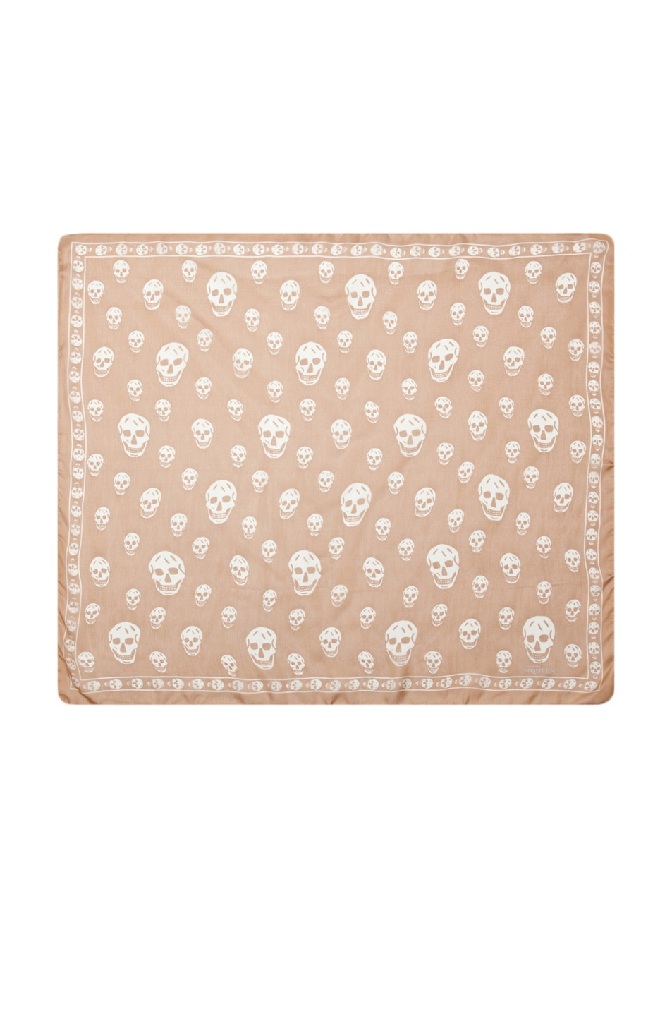 Image 1 of Alexander McQueen Printed Chiffon Skull Scarf in Camel