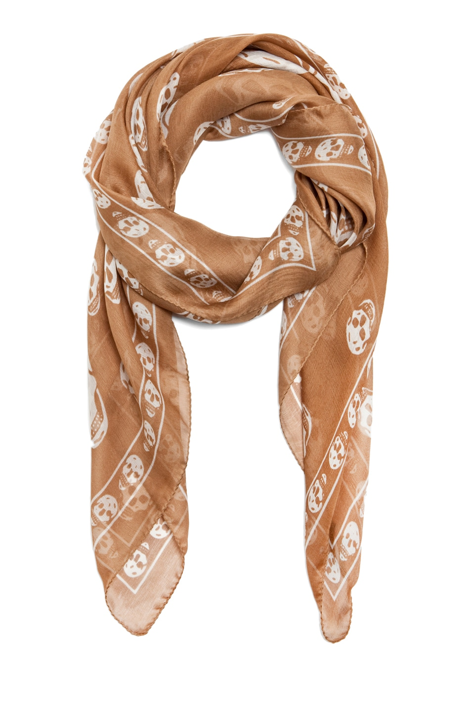 Image 2 of Alexander McQueen Printed Chiffon Skull Scarf in Camel