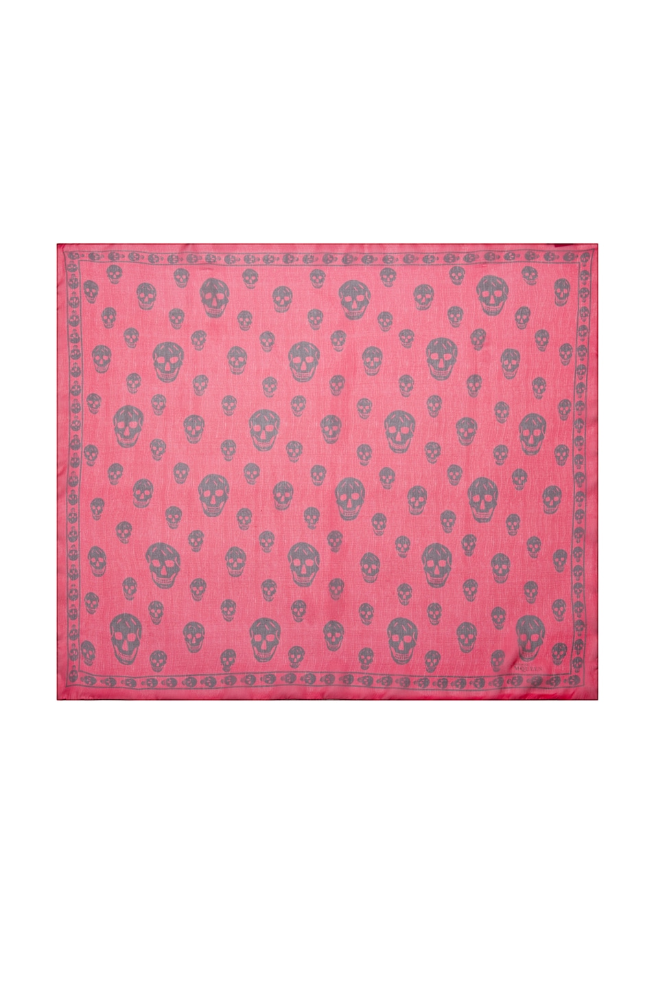 Image 1 of Alexander McQueen Printed Chiffon Skull Scarf in Red