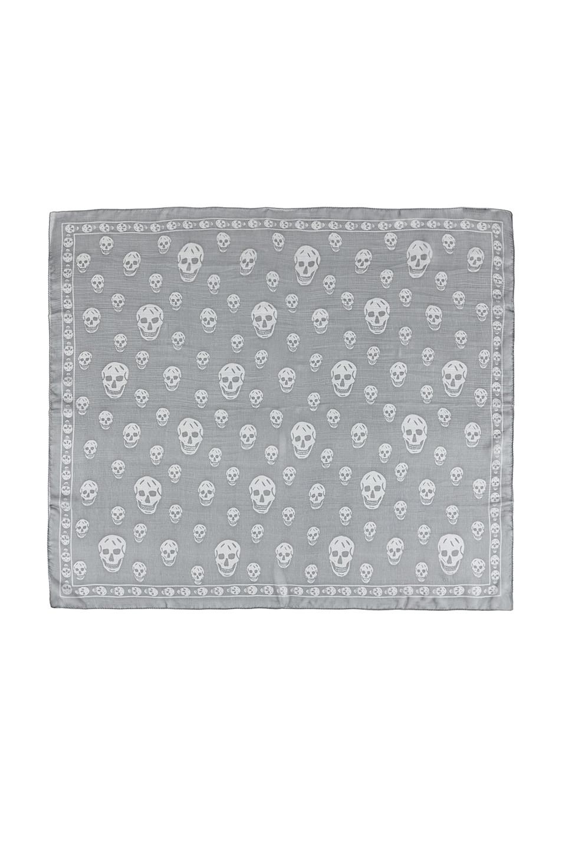 Image 1 of Alexander McQueen Chiffon Skull Scarf in Flannel & Medium Grey
