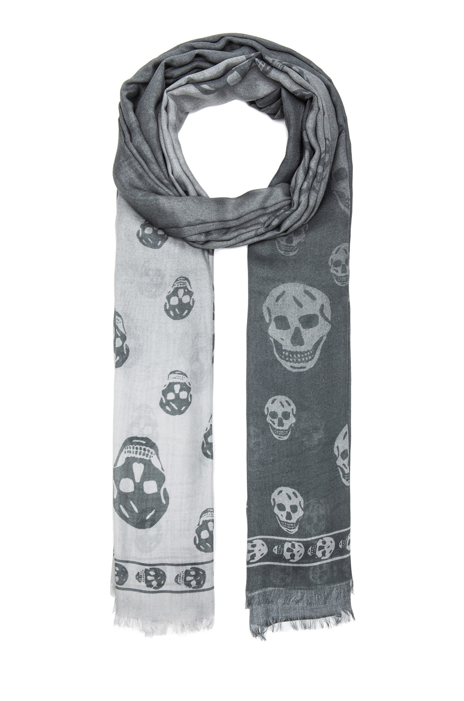 Image 1 of Alexander McQueen Degrade Modal Skull Scarf in Cloud & Ivory