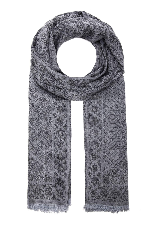 Image 1 of Alexander McQueen Union Jack Wool & Silk Scarf in Flannel & Black