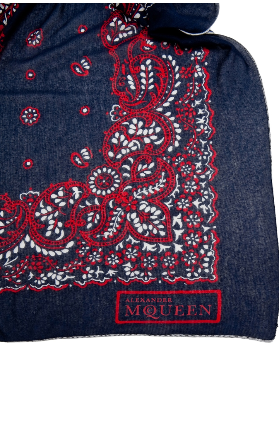 Image 3 of Alexander McQueen Paisley Skull Bandana Scarf in Navy & Red