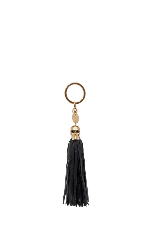 Image 1 of Alexander McQueen Tassel Key Ring in Black