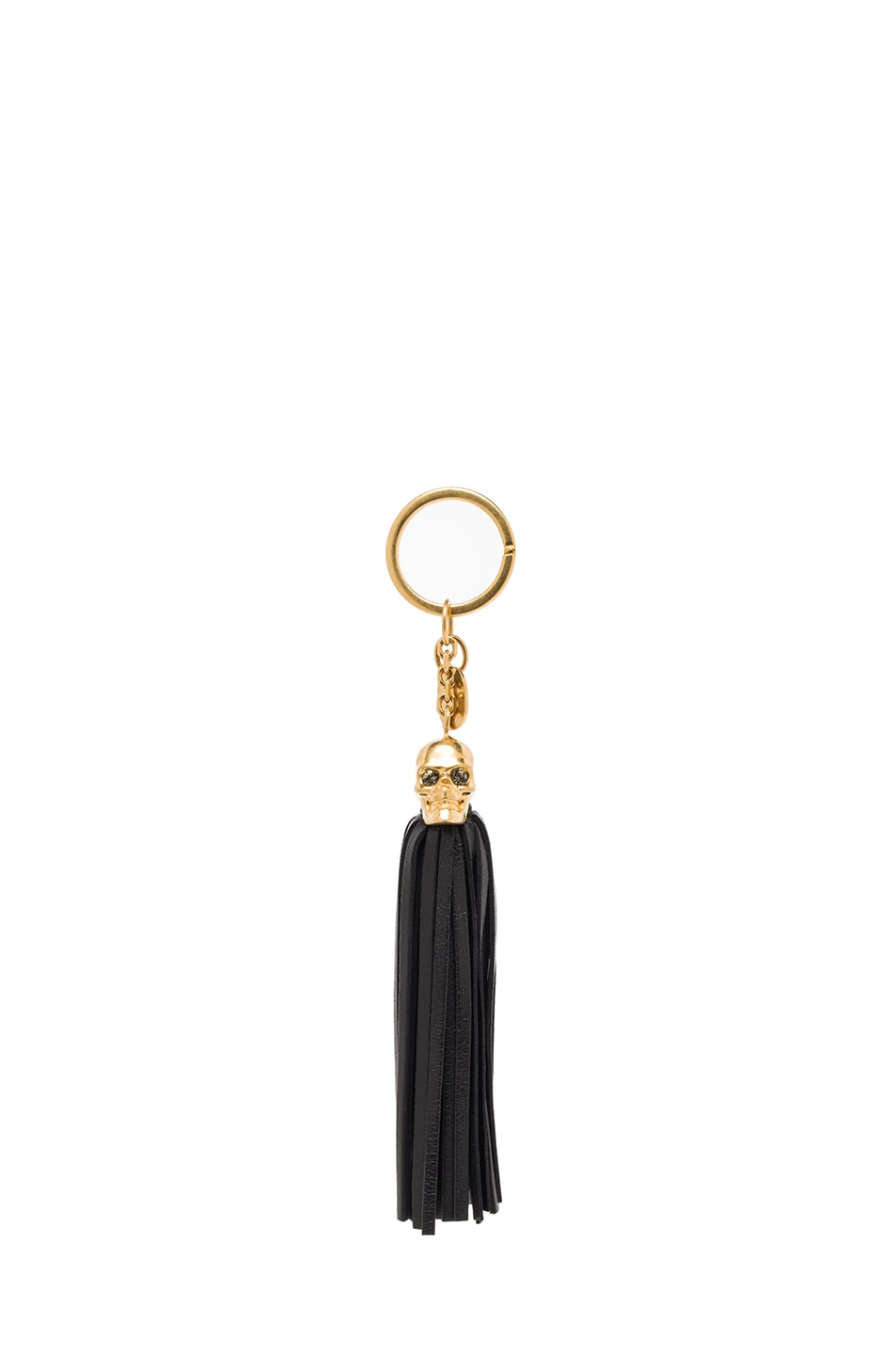 Image 1 of Alexander McQueen Leather Tassel Key Ring in Nero