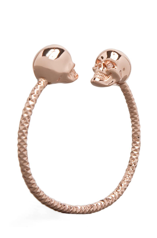 Image 1 Of Alexander Mcqueen Twin Skull Bracelet In Rosegold