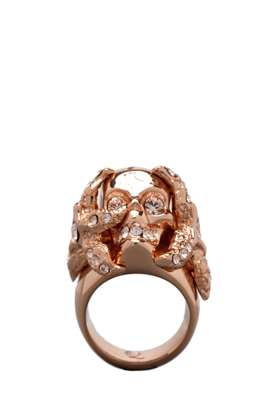 Image 1 of Alexander McQueen Skull Ring in Rosegold