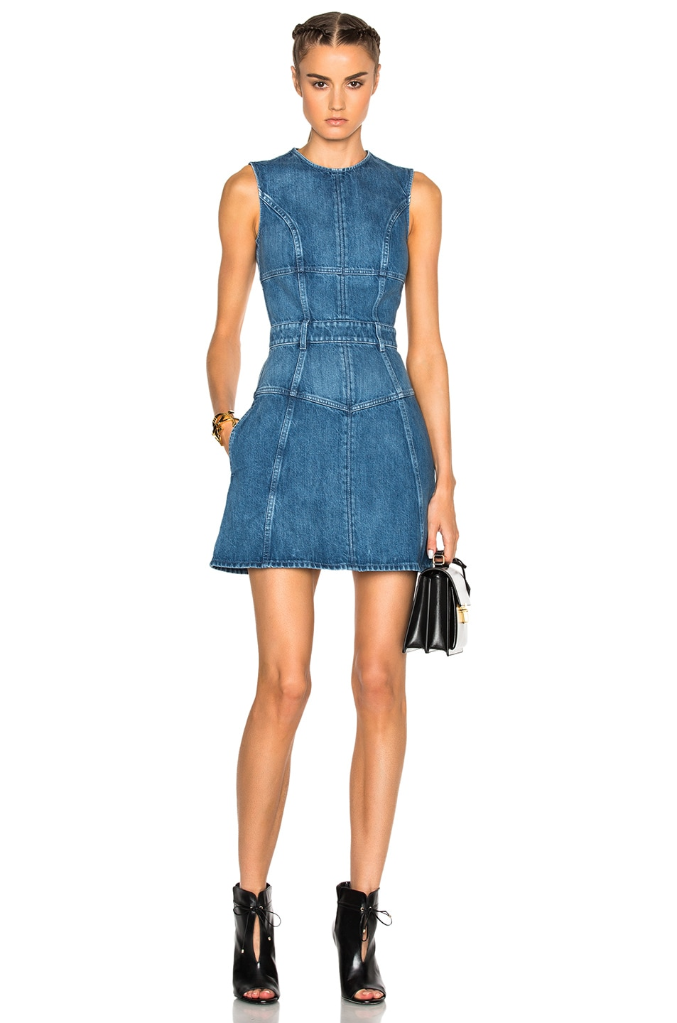 Image 1 of Alexander McQueen Denim Mini Dress in Dark Indigo