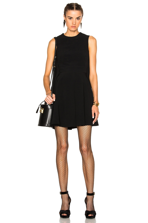 Image 1 of Alexander McQueen Cape Back Mini Dress in Black