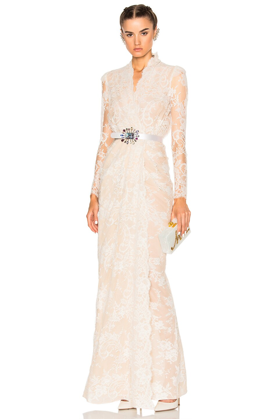 Image 1 of Alexander McQueen Sara Lace Wrap Dress in Flesh & Ivory