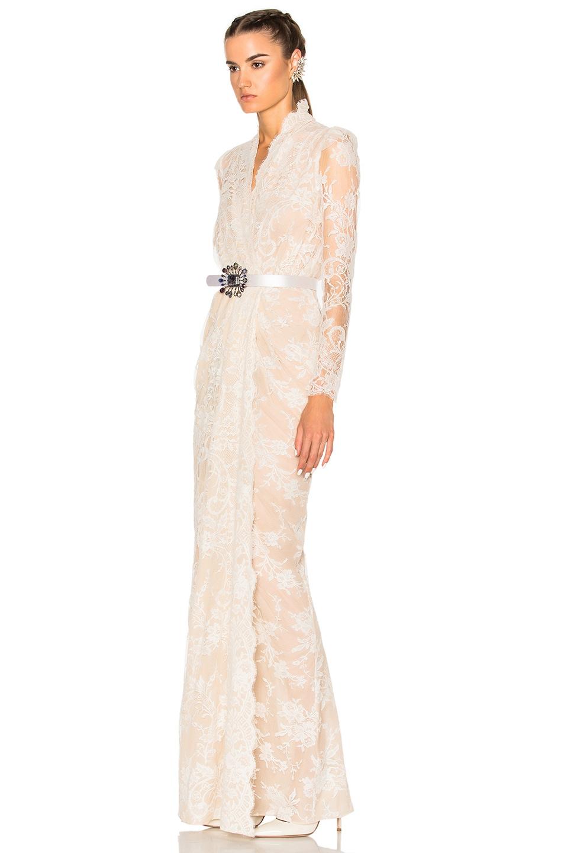 Alexander McQueen Sara Lace Wrap Dress in Flesh & Ivory | FWRD