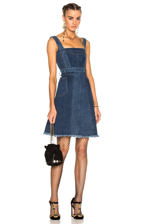 Image 1 of Alexander McQueen Patchwork Denim Sleeveless Dress in Mid Blue