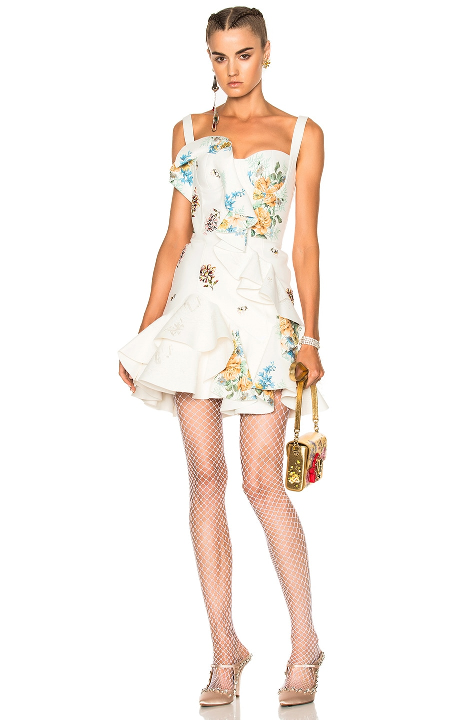 Image 1 of Alexander McQueen Leather Ruffle Dress in Ivory & Multi