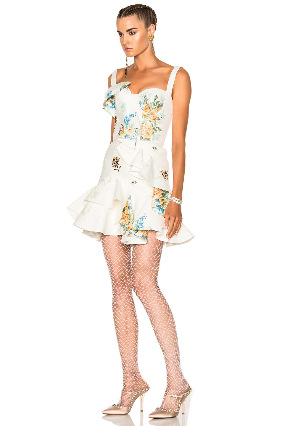 Image 2 of Alexander McQueen Leather Ruffle Dress in Ivory & Multi