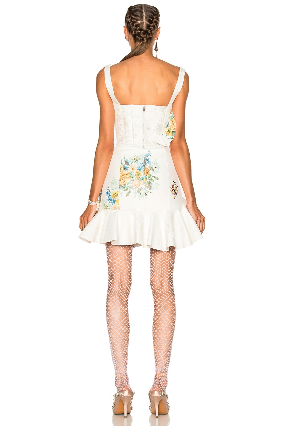 Image 4 of Alexander McQueen Leather Ruffle Dress in Ivory & Multi