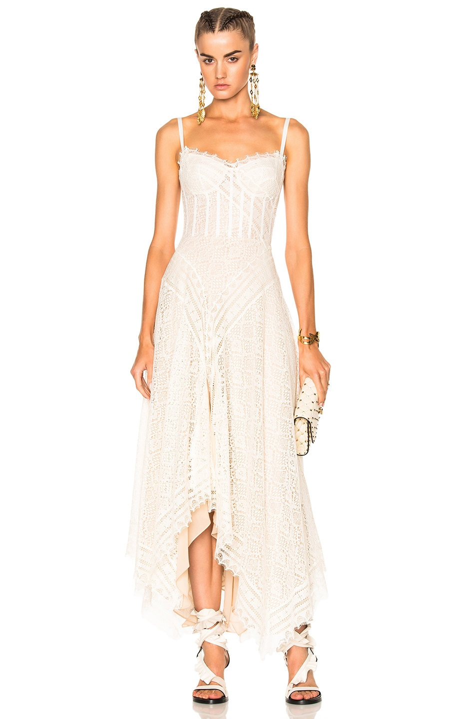 Image 1 of Alexander McQueen Asymmetrical Lace Dress in Ivory