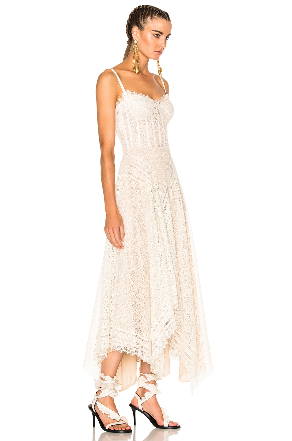 Image 3 of Alexander McQueen Asymmetrical Lace Dress in Ivory