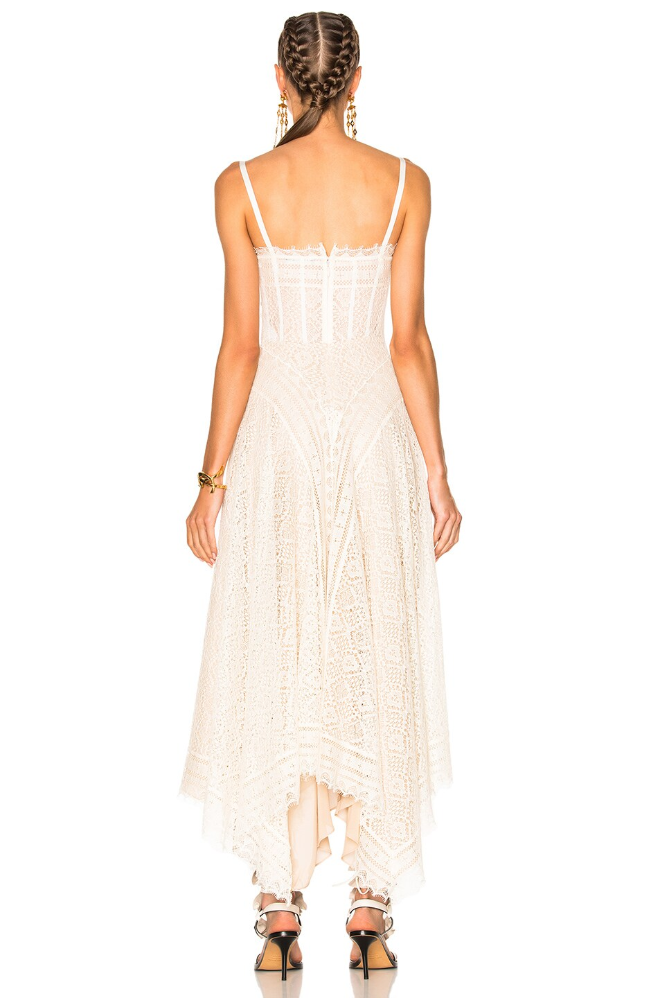 Image 4 of Alexander McQueen Asymmetrical Lace Dress in Ivory