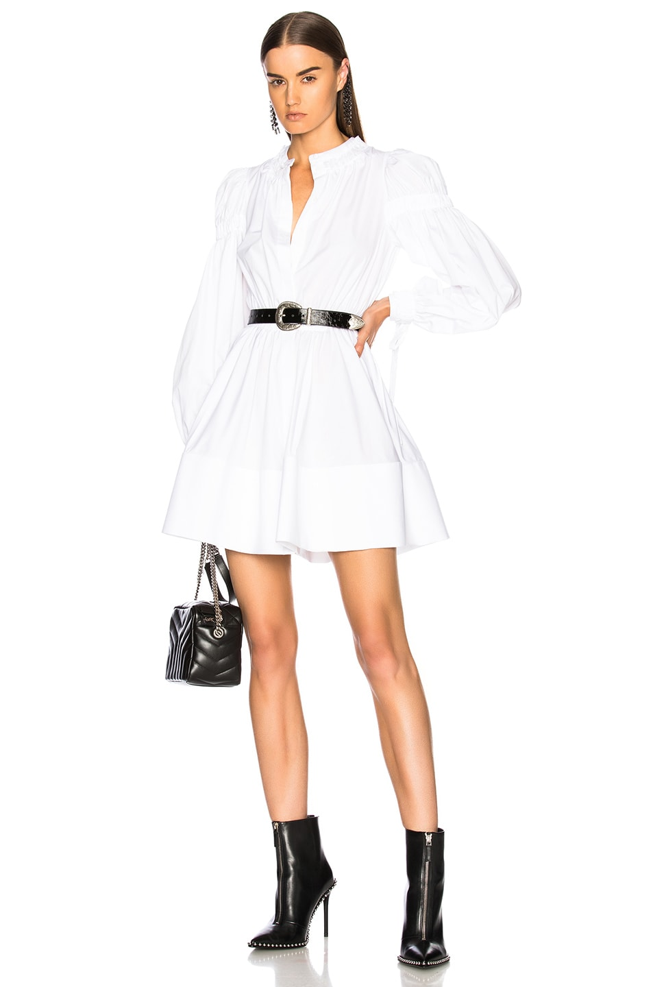 Image 1 of Alexander McQueen Popeline Gathered Sleeve Dress in White