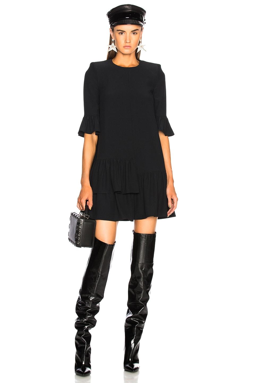Alexander McQueen Ruffle Hem Mini Dress in Black