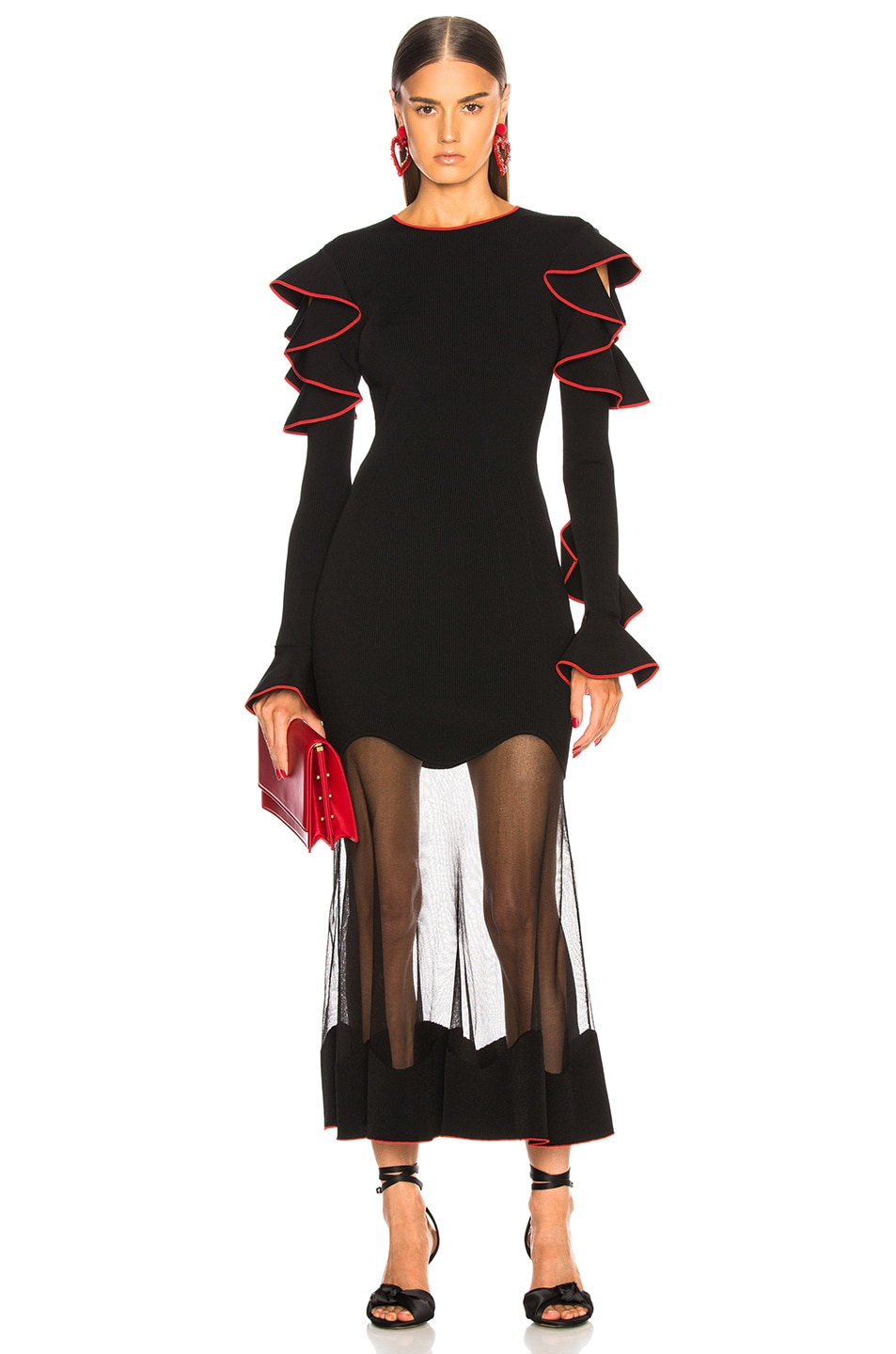 Image 1 of Alexander McQueen Long Sleeve Sheer Hem Midi Dress in Black & Red
