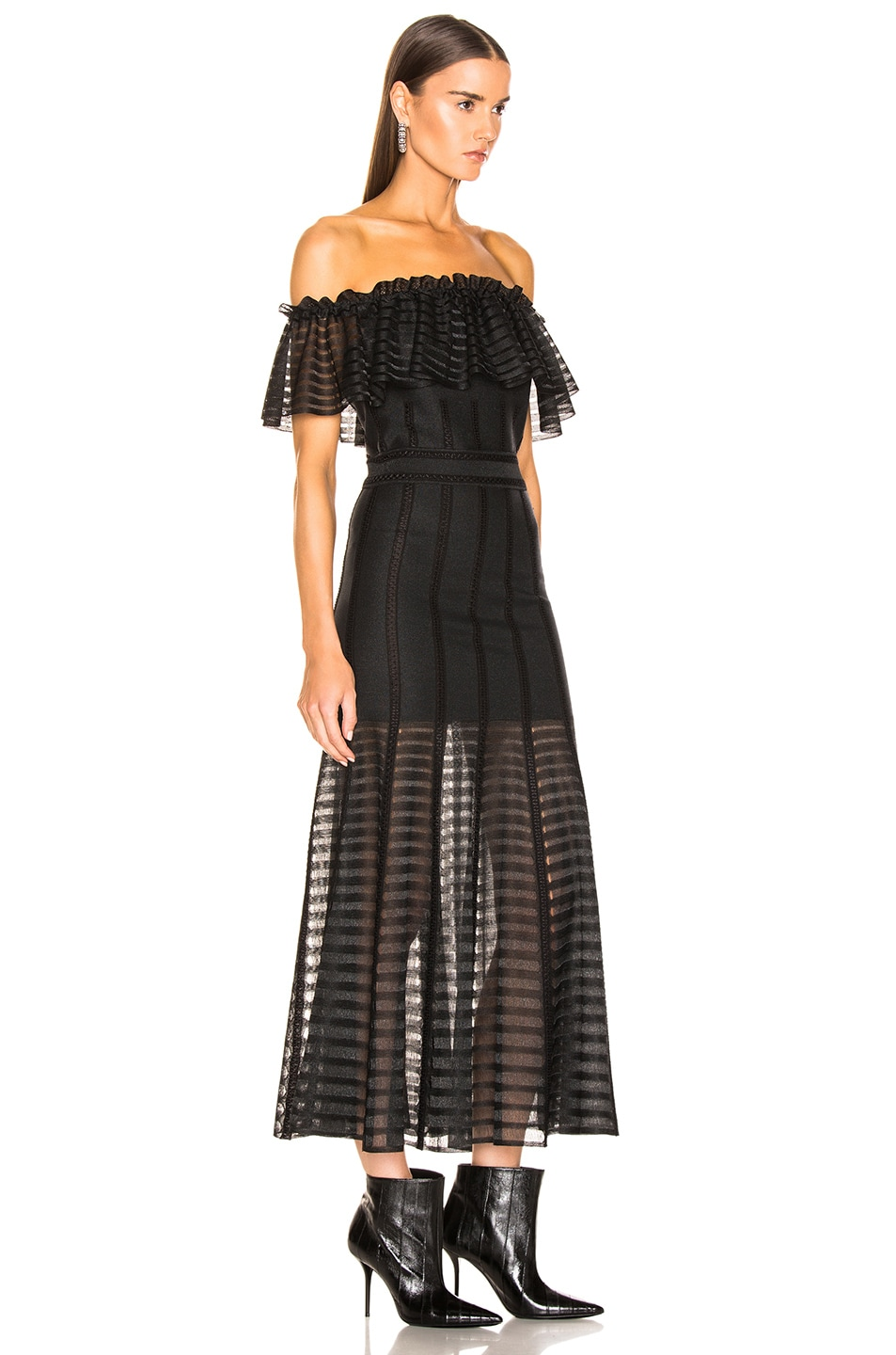 Image 2 of Alexander McQueen Off the Shoulder Sheer Dress in Black