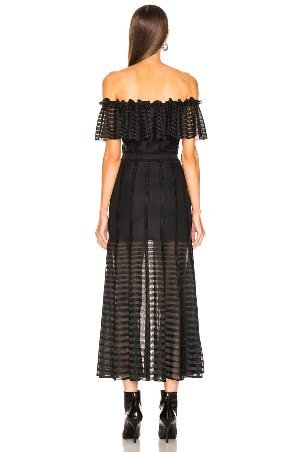 Image 3 of Alexander McQueen Off the Shoulder Sheer Dress in Black