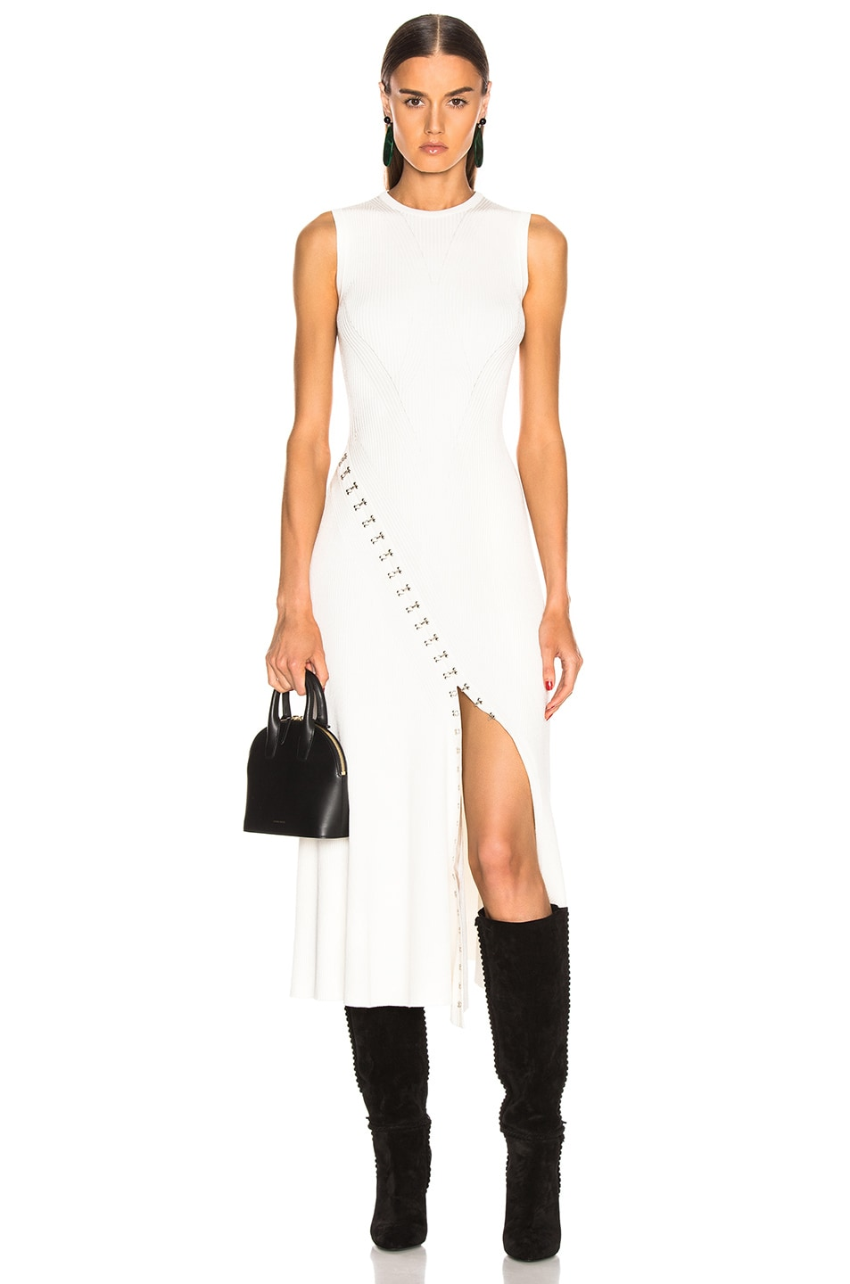 Image 1 of Alexander McQueen Slit Dress in Ivory & Silver