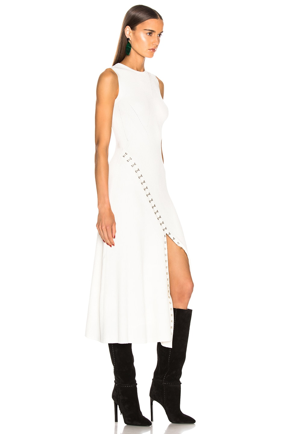 Image 2 of Alexander McQueen Slit Dress in Ivory & Silver