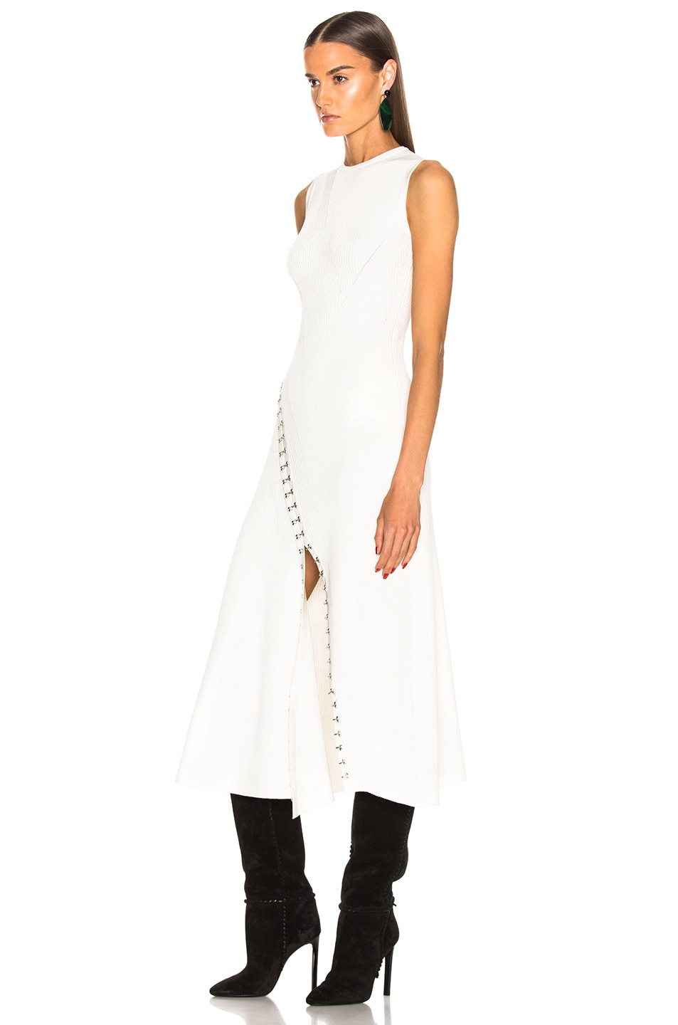 Image 3 of Alexander McQueen Slit Dress in Ivory & Silver
