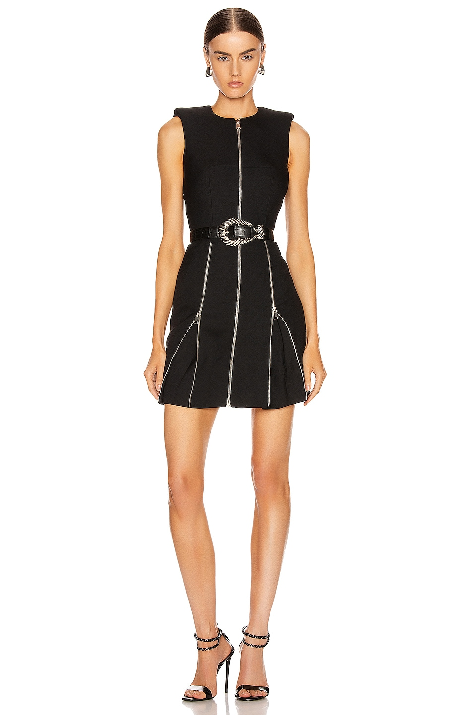 Image 1 of Alexander McQueen Zip Mini Dress in Black