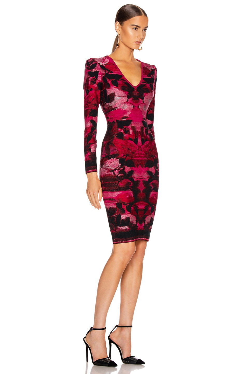 Image 2 of Alexander McQueen Long Sleeve V Neck Dress in Red & Pink