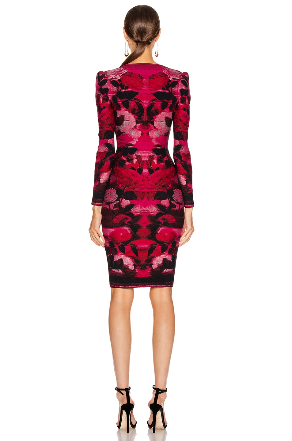 Image 3 of Alexander McQueen Long Sleeve V Neck Dress in Red & Pink