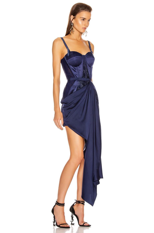 Image 2 of Alexander McQueen Bustier Drape Dress in Sapphire