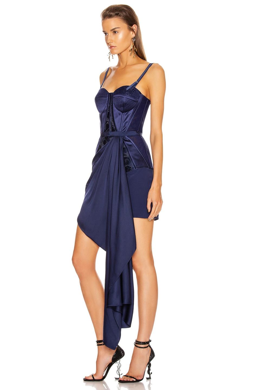 Image 3 of Alexander McQueen Bustier Drape Dress in Sapphire