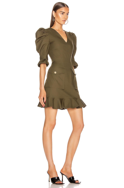 Image 2 of Alexander McQueen Mini Ruffle Dress in Khaki Green